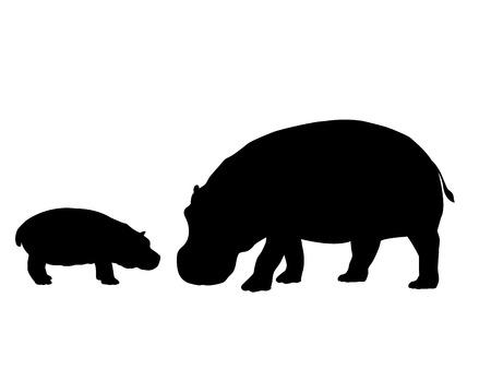 Hippo and cub hippo mammal black silhouette animal
