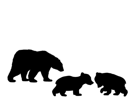 Bear family two bear cubs black silhouette animals