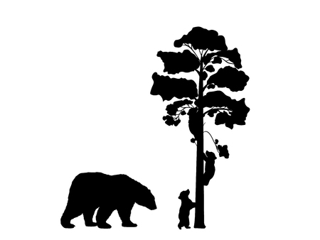 Two bear cubs climbing tree black silhouette animals