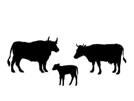 Ox cow calf farm mammal black silhouette animal Imagens - 123627914