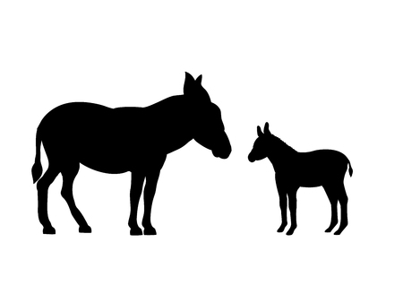 Donkey farm mammal black silhouette animal.