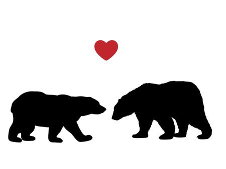 Two bear love black silhouette animals. Vector Illustrator.