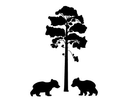 Two cub bears near tree silhouette animal. Vector Illustrator. Ilustração