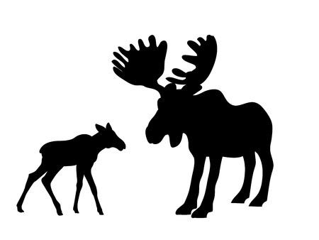 Elk moose mammal black silhouette animal Imagens - 123627919