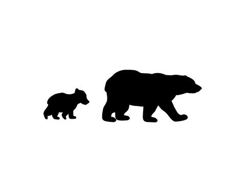 Bärenfamilie schwarze Silhouette Tiere. Vektorgrafik