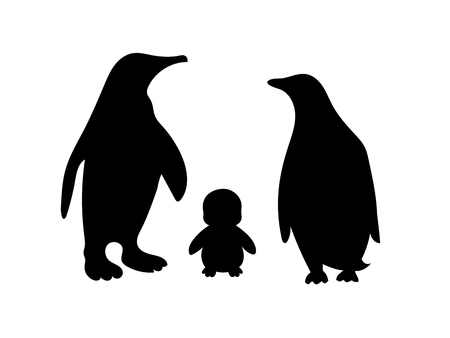 Penguin symbol family loyalty. Animal vector illustration