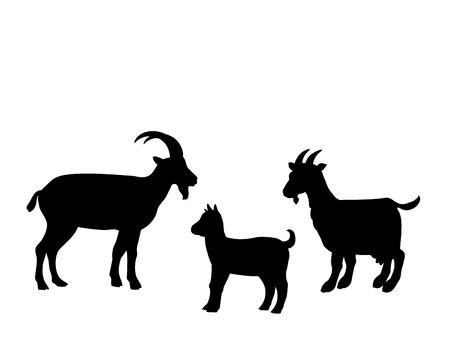 Goat goatling farm mammal black silhouette animal Ilustração