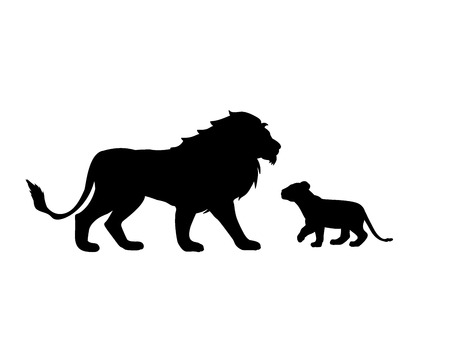 Lion and lion cub predator black silhouette animal