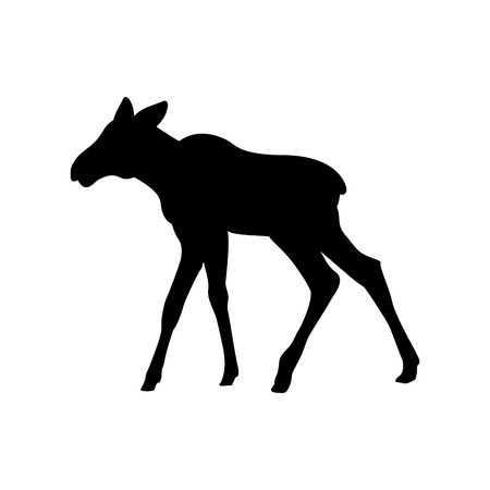 Elk moose calf mammal black silhouette animal 일러스트