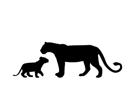 Lioness and lion cub predator black silhouette animal Illustration