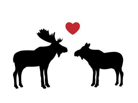 Elk moose love mammal black silhouette animal Illusztráció
