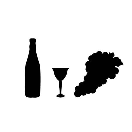 Grape wine wineglass glass bottle silhouette