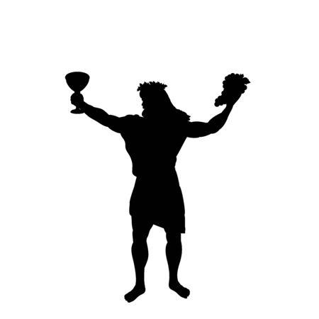 Dionysus Bacchus god wine silhouette ancient mythology fantasy Imagens - 127865368