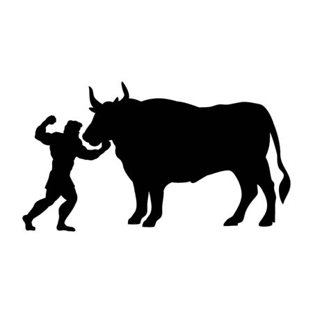 Heracles fights Ox silhouette mythology fantasy. Illustration