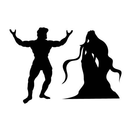 Heracles Naiad nymph silhouette mythology fantasy