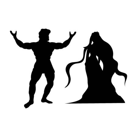 Heracles Naiad nymph silhouette mythology fantasy Imagens - 127865510
