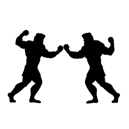 Two men fight silhouette conflict