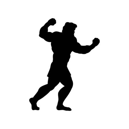 Man goes to fight silhouette