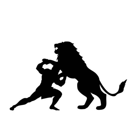 Heracles fights lion predator silhouette mythology fantasy