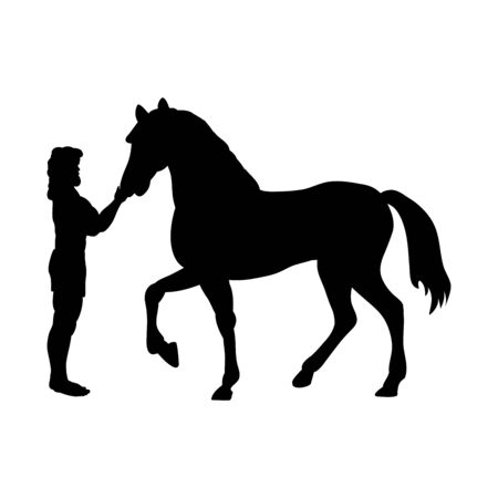 Heracles horse  silhouette mythology fantasy Vectores