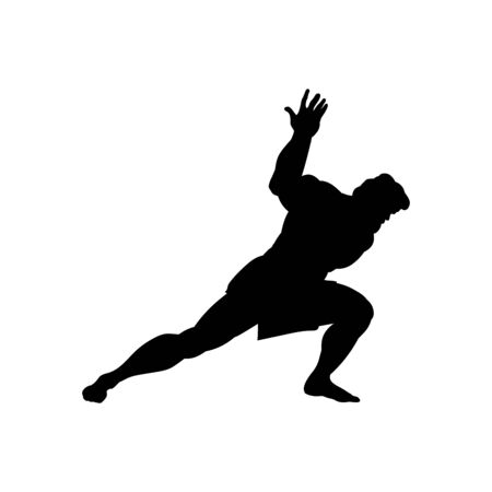 Athlete sportsman silhouette strong male. Vector illustration. Imagens - 127865525