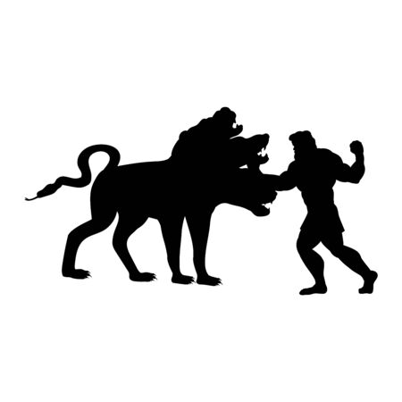 Heracles fights Cerberus dog silhouette ancient mythology fantasy. Vector illustration.