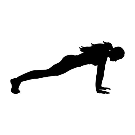 Silhouette girl yoga exercise pose push ups