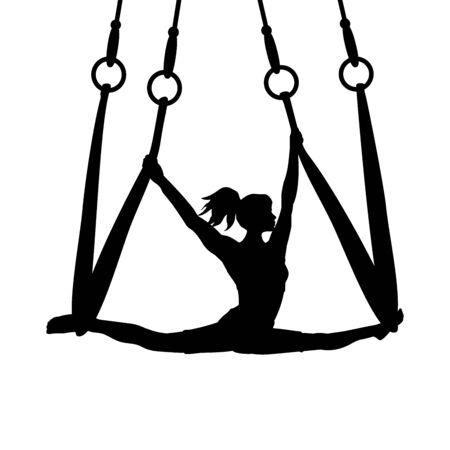 Silhouette girl yoga exercise pose aero split. Vector illustration Ilustração
