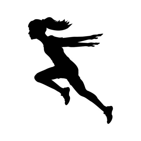 Silhouette running girl hands back