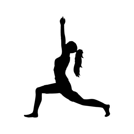 Silhouette girl yoga pose exercise flexibility Imagens - 131879866