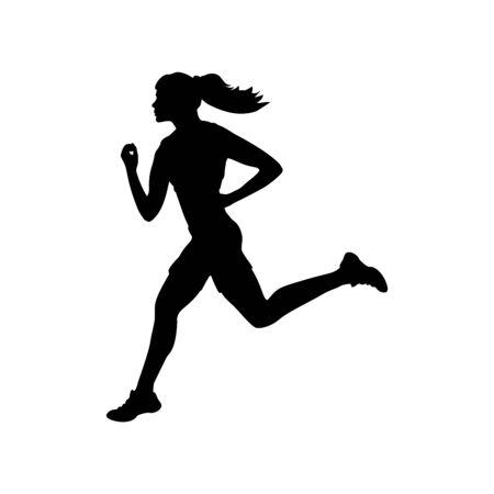 Runner athlete girl sport silhouette fitness health 向量圖像
