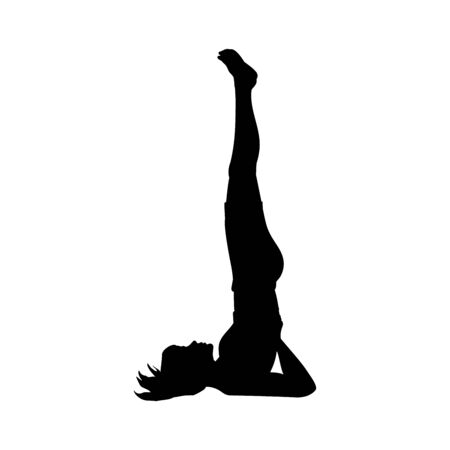 Silhouette girl yoga pose exercise flexibility. Imagens - 131880829