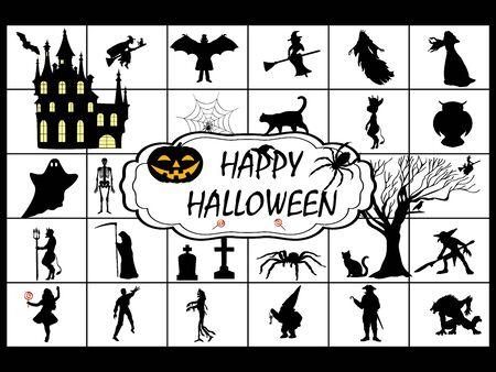 Halloween symbol holiday set silhouette Illustration
