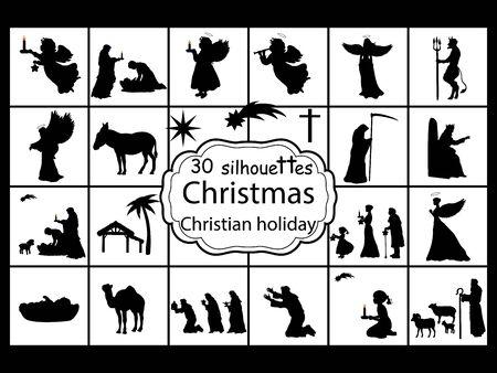 Définir des silhouettes Nativité de Noël. fête chrétienne Vecteurs