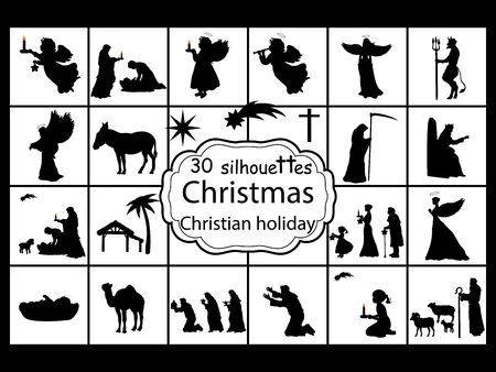Set silhouettes Christmas Nativity. Christian holiday