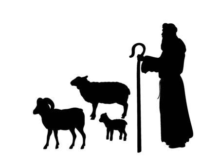 Holiday silhouettes christmas Nativity. Shepherd grazes flock sheep.