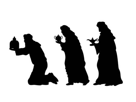 Holiday silhouettes christmas. Wise men with gifts.