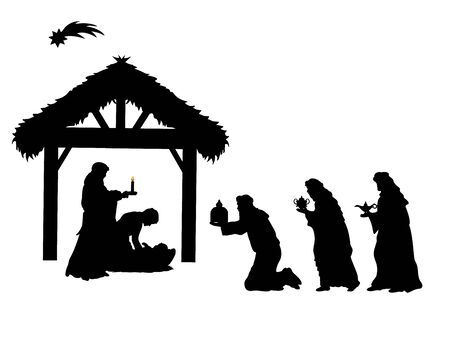 Holiday silhouettes christmas. Sages bowed to Christ. Imagens - 131880929
