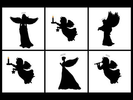 Holiday set silhouettes christmas angels . Imagens - 131879773