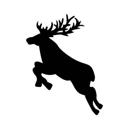 Silhouette deer. Happy Merry Christmas.