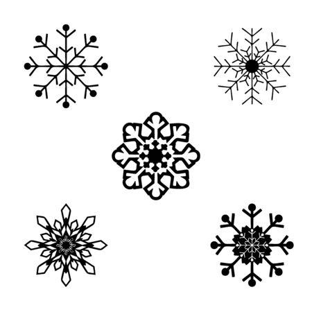 Silhouette Christmas snowflakes. Symbol Happy New Year Ilustração