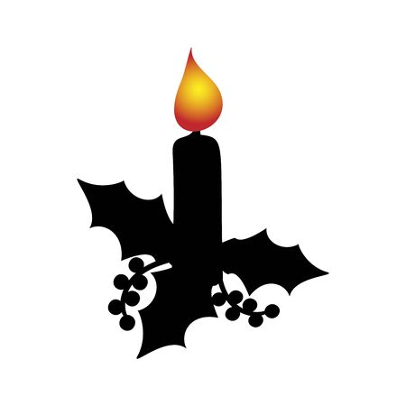 Silhouette Christmas candle. Happy Merry Christmas