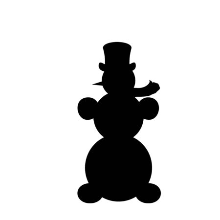 Silhouette Christmas snowman. Symbol Happy New Year. Vector Illustration Ilustração