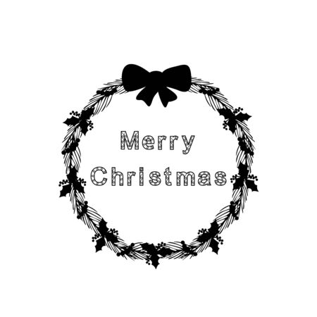 Silhouette Christmas wreath. Happy Merry Christmas. Vector illustration Imagens - 131505589