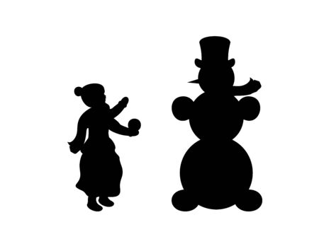Silhouette child sculpts snowman. Symbol Happy New Year