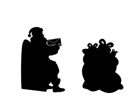 Silhouette Santa holds letter bag gifts. Happy Merry Christmas. Çizim