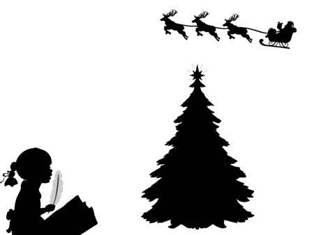 Silhouette child writes letter to Santa. Happy Merry Christmas