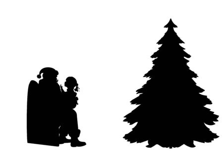 Silhouette kid talking and sitting on knees Santa. Symbol Happy Merry Christmas.
