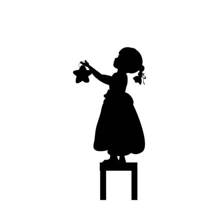 Silhouettes child stands on stools holds christmas star. Illustration