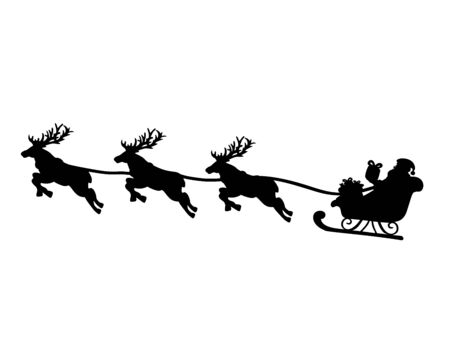 Silhouette Santa in sleigh and flying reindeers. Symbol Happy Merry Christmas.